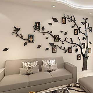 3D Acrylic Memory Tree Photo Wall Modern Simple Photo Frame Wall Collage Black Red Green Large Multi Picture Photo Frames Wall Set Sofa TV Backdrop Living Room Art Stickers
