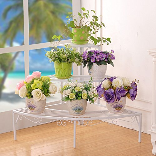 QFF Matériau en fer de style européen Trois couches Noir Or Blanc Porte-fleurs, balcon Salle de séjour couloir Jardin de la chambre Pot de fleurs étagère ( Couleur : Blanc , taille : 84*60*60cm )