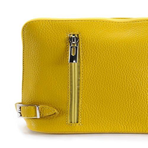 OH MY BAG Sac à main bandoulière en cuir femme - Modèle Mia JAUNE