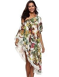 Baijiaye Mujer Hombro Desnudo Plantas Impresión De Flores Borla Verano Protección Solar Vestido Playero Mujer Batas