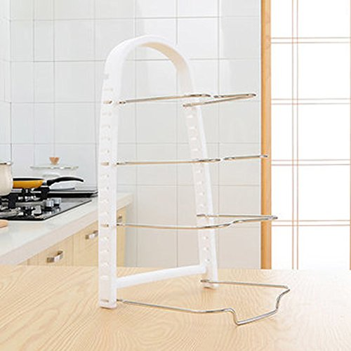 Pan Pot Organizer Rack,Kitchen Cabinet Pantry Pan and Pot Lid Organizer Rack Holder Storage Shelf Cookware Holders Good Organizer for Kitchen (white)