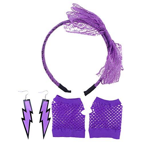 Toyvian 80er Jahre Kostüm Sets für Frauen 80er Jahre Spitze Neon Ohrringe Fingerlose Netzhandschuhe Stirnband für 80er Jahre Party Fancy Favors ()