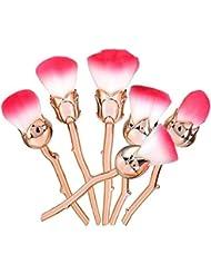 Glamza 6 Pcs Beauty & The Beast Inspired Mermaid Soft Makeup Brushes Rose Pro Set