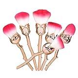 Glamza Lot de 6 pinceaux en forme de rose inspirés de la Belle et de la Bête