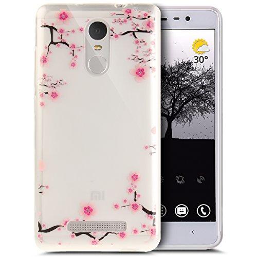 Xiaomi Redmi Note 3 Hülle,ikasus Bunte Kunst Gemalt Muster Kristallklar TPU Silikon Handy Hülle Tasche Crystal Case Durchsichtig Schutzhülle für Xiaomi Redmi Note 3,Blumen Pflaumenblüte #1