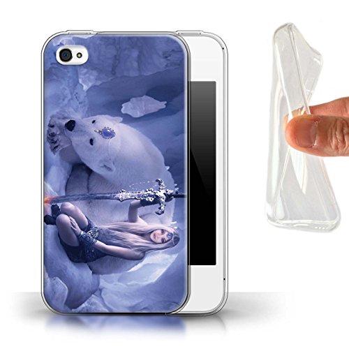 Officiel Elena Dudina Coque / Etui Gel TPU pour Apple iPhone 4/4S / Cyborg Design / Super Héroïne Collection Reine des Glaces
