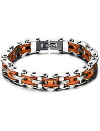 abe033a9ff6f BOBIJOO Jewelry - Bracelet Homme Acier Inoxydable Chaine de Moto Vélo  Silicone Orange Motard Biker