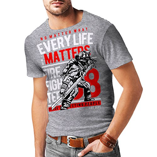Stylotex Herren T-Shirt Slim Fit Every Life Matters, Größe:L, Farbe:Heather (T-shirt Feuerwehrmann Fitted)