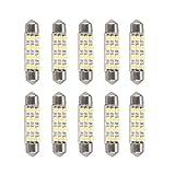 10 X Ampoule Lampe Festoon Lumière Blanc 3528SMD 12 LED Voiture Auto Moto 41mm