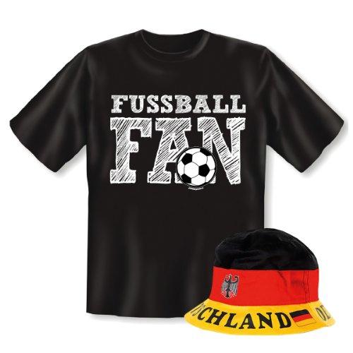 Geniales Outfit für Sport Freunde - Fussball Fan T-Shirt + Mütze
