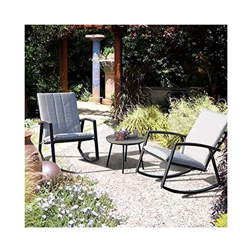 HYYTY-Y Schaukelstuhl, 3 Stück, Outdoor-Sessel aus Schmiedeeisen, Chaiselongue mit Chaiselongue 702-YY - Espresso Sessel