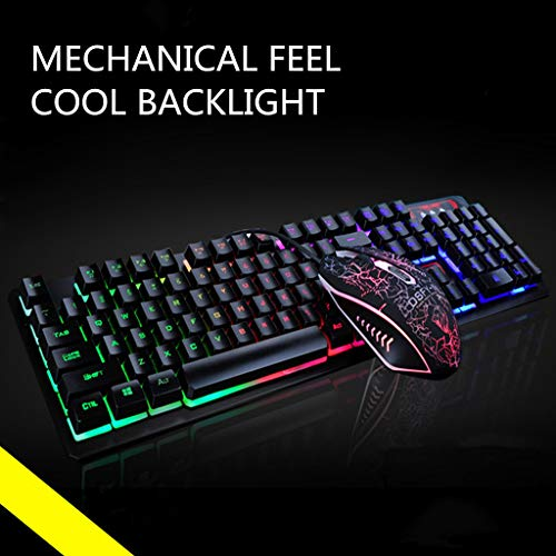 jieGREAT  Optical Gaming Räumungsverkauf  , Rainbow Gaming Keyboard and Mouse Set LED Multi-Colored Changing Backlight Mouse -