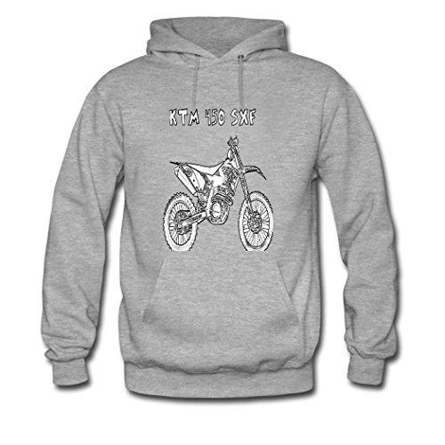 weileDIY Dirt bike DIY Custom Women's Printed Hoodie Sweatshirt Gray_B