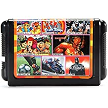Rishil World 8 In 1 16 Bit Game Cartridges Classic TV Game For Sega MD2 Game Console Black KE804 Card