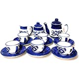 Children Hand Painted Ceramics Tea Cups Set With Suacers Blue And White Colored