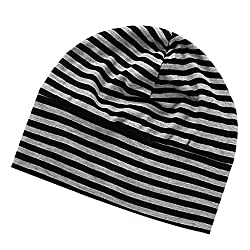 Phenovo Mens Oversized Beanie Cotton Hat Turban Head Wrap Sleep Cap Striped