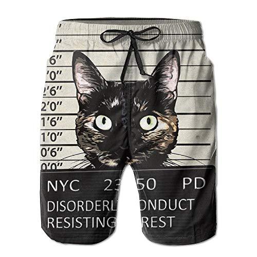 Fashion Men's Beach Pants Kitty Mugshot Cat Crime Mener Beach Boardshorts,L Kitty Cat Pant