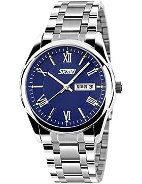 einzigartige schöne kühlen Männer blaues Zifferblatt Quarzuhr römische Ziffern für Männer leuchtende schöne Armbanduhr...