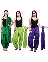 Fashion Store Women Cotton Patiala Salwar With Dupatta Combo Of 2 (Free Size, Dark Green & Green - Purple)