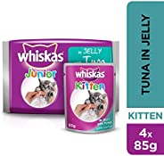 Whiskas Tuna in Jelly, Pouch for Kitten (1-12 Months), Multi Pack, 85 gm x 4 Pack