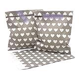 100 Frau Wundervoll Papiertüten - taupe, weiße Herzen - (Vorteilsmenge) / Geschenktüten / Candy Paper Bags