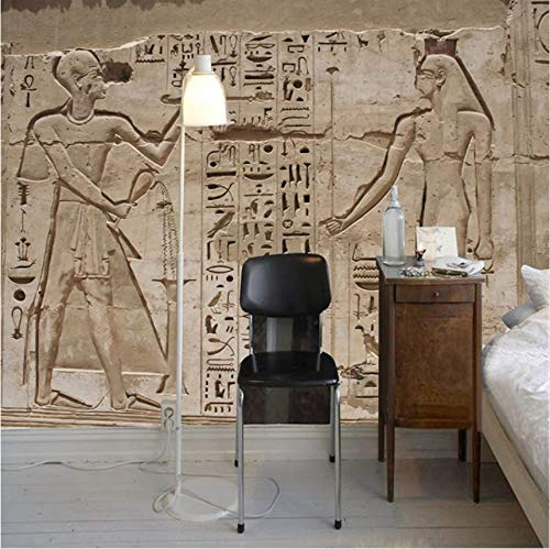Wallpaper Custom Any Size Wandbild 3D Stereo Alte Ägyptische Pyramide Stein Wandmalerei Europäischen Stil Retro Restaurant Tapete-(W)130x(H)80cm (Dschungel-wc-papier)