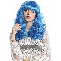 WIG ME UP ® -91065-ZA43 Parrucca Donna Halloween Carnevale Lunga Ondulata  Frangetta Azzurro 604494fdcd68
