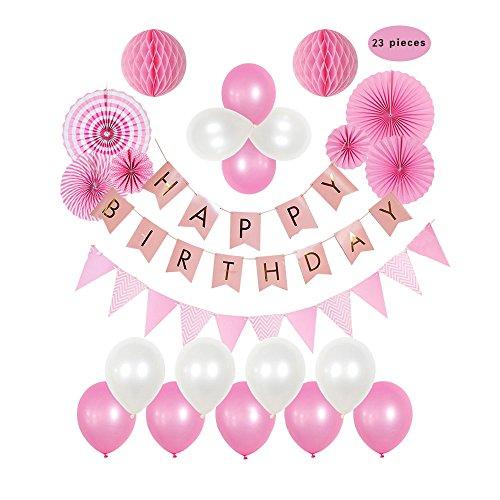 r Papier Fans Dekorationen–Perfect Party Supplies Kit, Pink Weiss foliert Wimpelkette Flagge Girlande und Hot Pink & Light Pink Seidenpapier Fans Pom Poms (23pcs) (Hot Pink Party Supplies)