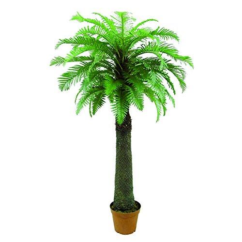 artplants Set 2 x Künstlicher Palmfarn mit 53 Wedeln, Dicker Stamm, 180 cm - Künstliche Palme/Kunstpalme