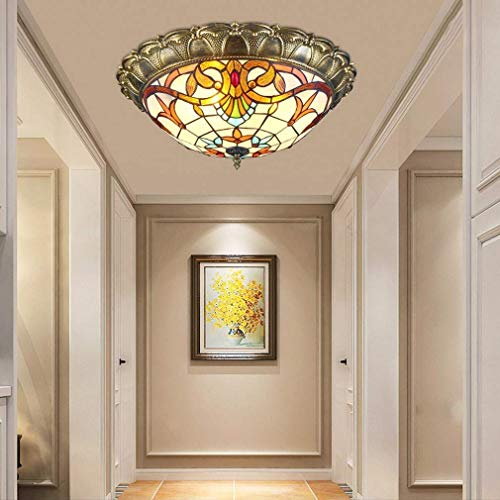 LED Deckenleuchte, klassische Deckenlampe, Rustikale Raumlampe, Dekorative Beleuchtung, Flurlampe, 18 W, 1350 Lumen, Deckenlampe, Lampenschirm aus Glasmalerei, Kunstlampe, Hängende Beleuchtung -