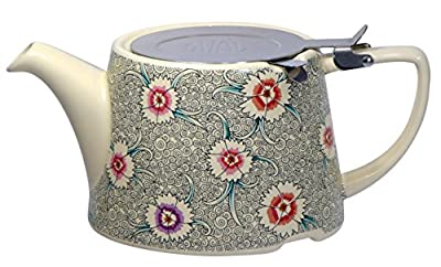 London Pottery Company Kaffe Fassett Oval-filter en céramique Infuseur Théière, 800 ml (82,8 cl) – Œillet