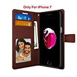 FOSO(TM) High Quality PU Leather Magnetic Flip Cover Wallet Case For iPhone 7 (Brown)