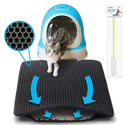 Focuspet Tappetino Lettiera Gatto, 75 x 55CM Tappeto per Lettiera Gatto Doppio Strato Favo Toilette per Gatti Impermeabile Design, Super Dimensione Facile da Pulire