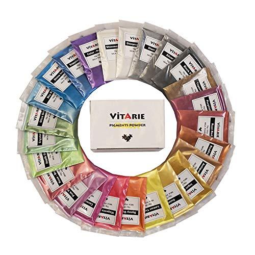 VITARIE mica Pigment (25 Farben 10g / 0,35 unzen pro stück) ultimative Huge Pigment-Puder-Set metallic-Effekt für die epoxy-Harz-farbpigment - seifenherstellung kit - Slime Supplies - Effekt-pigment