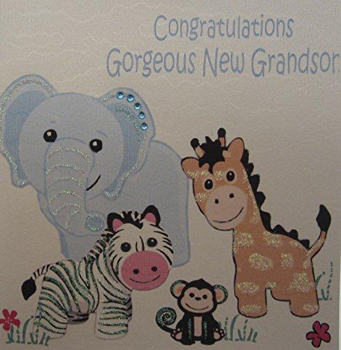 """Preisvergleich Produktbild white cotton cards Glückwunschkarte / Geburtstagskarte """"Gorgeous Grandson"""", handgefertigt, Safari Spielzeug"""