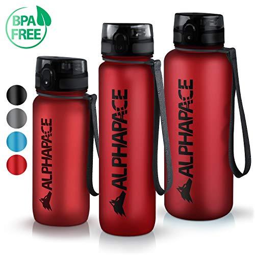 ALPHAPACE Trinkflasche - 650ml/1000ml/1500ml - BPA-frei - Wasserflasche auslaufsicher - Mit 1 klick öffnen - Schule, Sport, Fahrrad, Kinder (Rot, 1000ml)