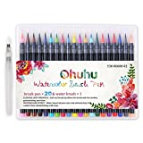 Watercolour Brush Pens, Ohuhu 20 Colours Water Colour Painting Markers W/ A Water