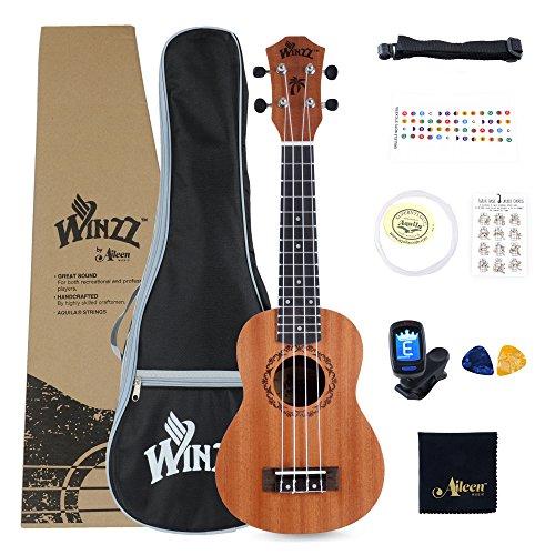 Winzz Soprano Ukelele de Caoba 21 Pulgadas con Cuerdas Aquila de Nylon Kit de Iniciación para Principantes con Bolsa, Sintonizador, Cuerdas Extras, Correa, Púas y Otros Regalos