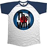Rockoff Trade The Who Vintage Target Raglan, Camiseta para Hombre, Blanco White, Medium
