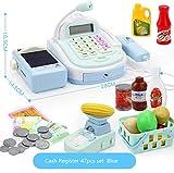 Enfants caisse enregistreuse semblant de jouer au supermarché magasin Till jouets avec calculatrice, scanner de travail, carte de crédit, aliments ludiques, balance électronique, argent, etc. (coule...