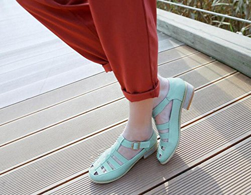 SHINIK Femmes Pompes Retro Roman Sandales Court Chaussures Bleu Blanc Rose Blue