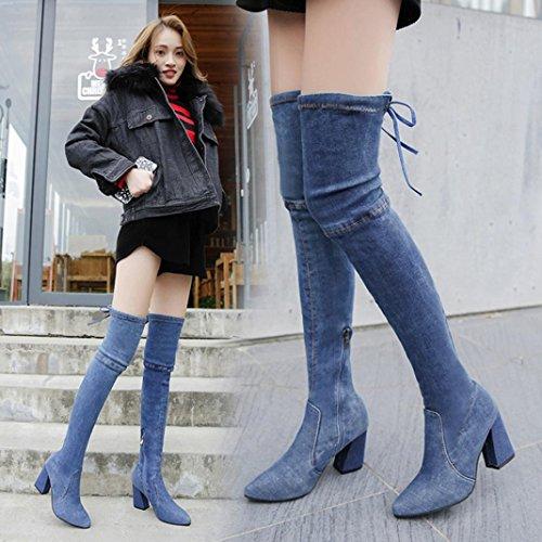 High Heels Stiefel für Frauen, cinnamou Over-The-Knee Stiefel - Fashion Denim schlanke Schuhe - spitzen Toe Outdoor Boots (38, Blau) (6.5 Blau, Kunstleder)