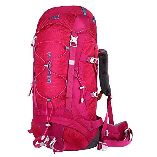 Eshow Trekkingrucksäcke Wanderrucksäcke Reiserucksack für Reisen Wandern und Bergsteigen Wasserdicht Ultraleicht 60L 31*68*24 mit Regenabdeckung, Rosa (Wander-rucksack, 50l)