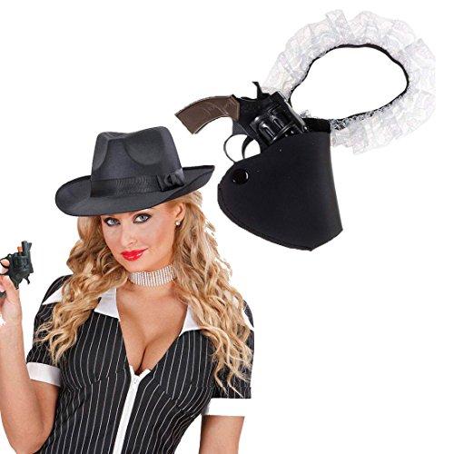 Strumpfband mit Pistolenholster Pistolenhalter weiß-schwarz Strumpfband Holster Colttasche Western Cowgirl (Kostüm Strumpfband Holster)