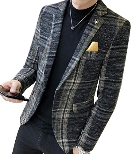 Andopa Herren blazer kerbe revers plaid fashion single button welt jacke 2XL Grau - Kerbe Revers Single