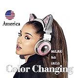 Neues Modell Sonderausgabe des kabellosen Bluetooth-Katzenohren-Kopfhörers mit einem Lautsprecher und einem modischen weißen Rahmen (8 Farbwechsel) Set mit Mikrofon Audio Y Kabel to PC