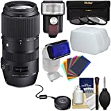 Sigma 100-400mm F/5.0-6.3 Contemporary DG OS HSM Zoom Lens With USB Dock + 3 Filters + Flash + Diffuser + Gel Filters Kit For Canon EOS DSLR Cameras