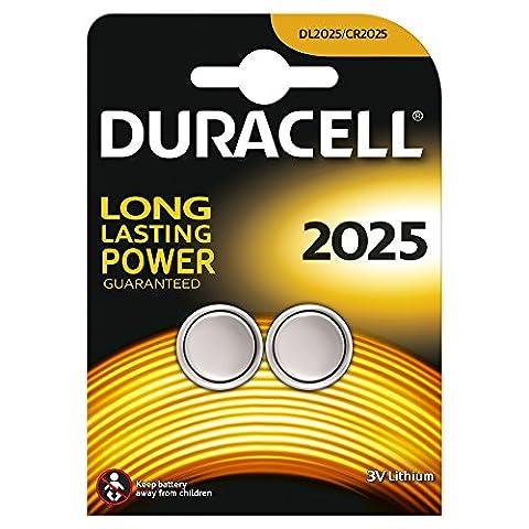 Duracell Spéciale Piles Bouton Lithium type 2025, Lot de 2