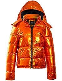 20e7378cbb8 SS7 Womens Puffer Coat Metallic Bubble Parka Jacket, Orange, Size 8 to 16