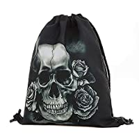 DEELIN Unisex Halloween Skull Character Backpacks 3D Printing Bags College Students School Bags for Girls Boys Sport Swim Travel Drawstring Backpack (A)